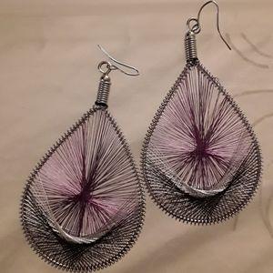 Dream catcher Purple threaded earrings